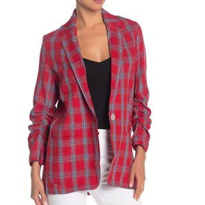Max Studio Plaid Linen Blend Ruched Sleeve Blazer